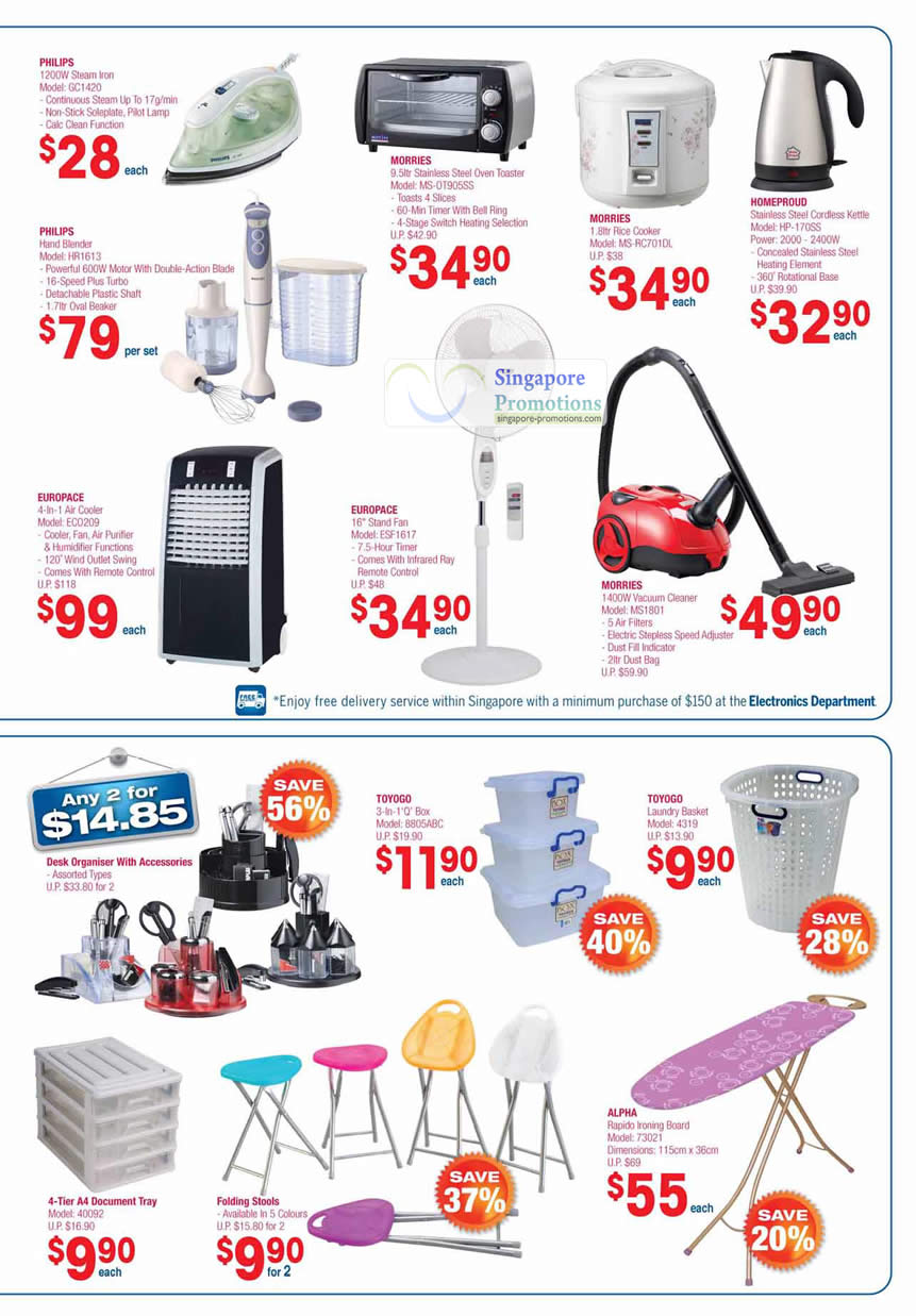Philips, Morries Oven Toaster, Rice Cooker, Homeproud, Europace Air Cooler, Stand Fan, Vacuum Cleaner, Toyogo, Alpha