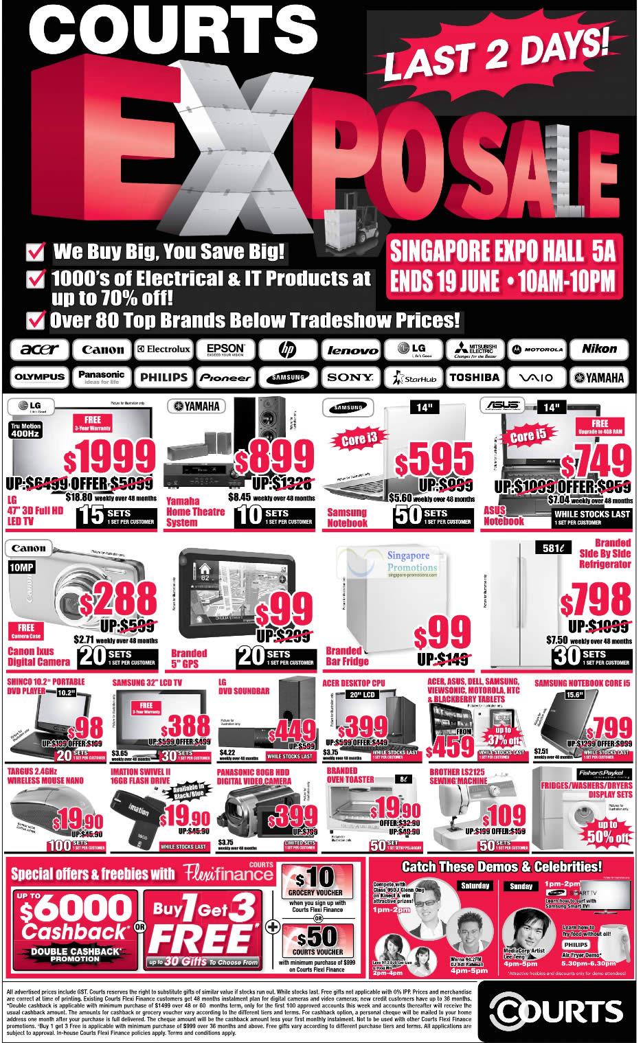 18 Jun LG LED TV, Samsung Notebook, ASUS, Yamaha, Digital Camera, GPS, Targys Mouse, Camcorder, Toaster, Brother LS2125