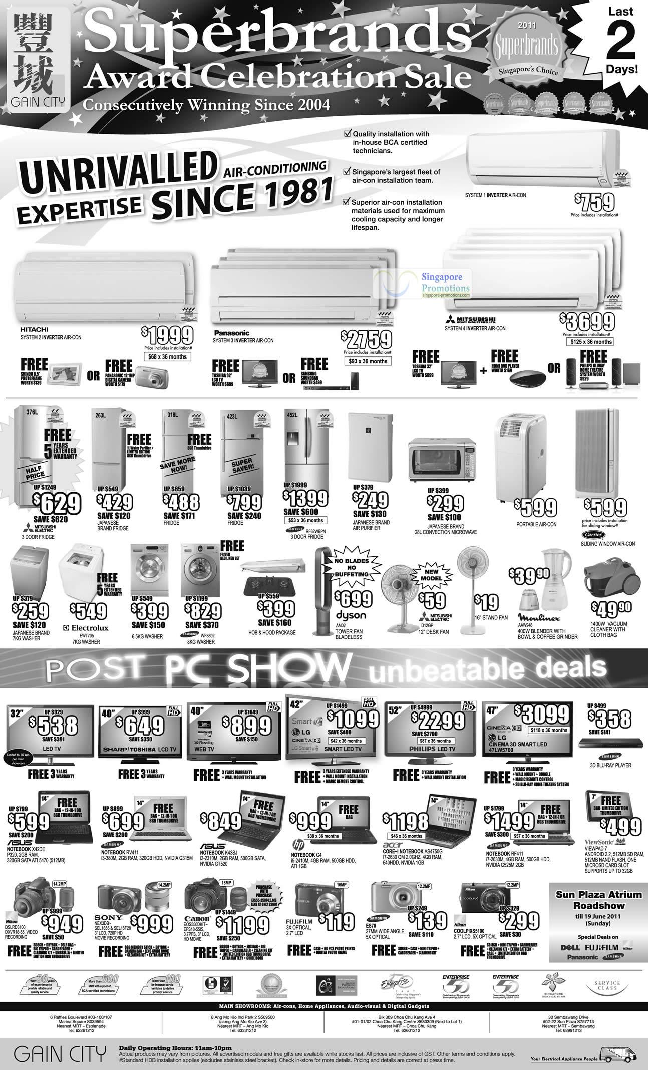 Air Conditioner, Fridge, Electrolux, Carrier Sliding Window Aircon, Oven, Notebooks ASUS X42DE, Samsung RV411, K43SJ, HP G4, Acer AS4750G, RF411, Viewsonic VIewpad 7, Nikon D3100, Canon EOS550D