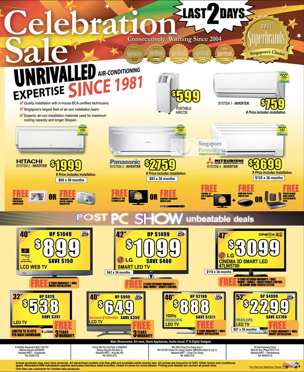 Air Conditioner, Hitachi, Panasonic, Mitsubishi, System 2 3 4, Inverter, TV, LCD, LED, Toshiba, Philips, Sharp, LG 47LW5700