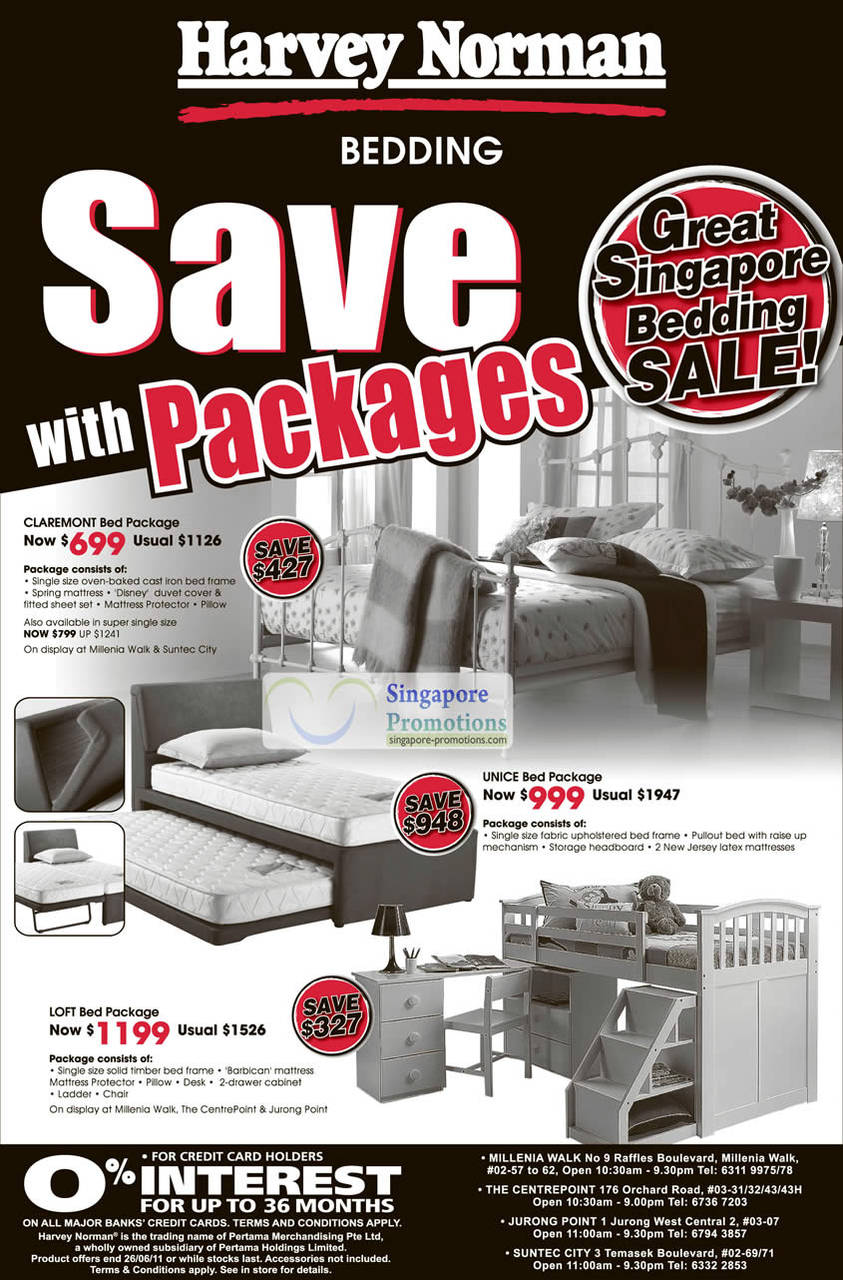 Bedding, Claremont Bed Package, Unice Bed Package, Loft, Frame, Mattress, Ladder, Cabinet