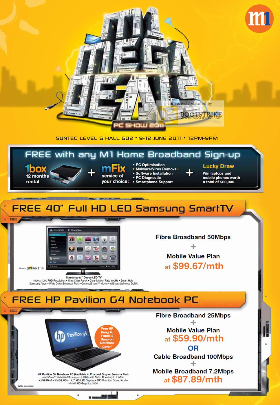 m1 deals free samsung d5500 led tv hp pavilion g4 notebook fibre broadband mobile value plan. Black Bedroom Furniture Sets. Home Design Ideas