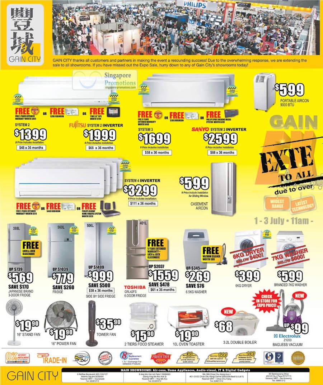 Air Conditioner, Fujitsu System 3 Inverter, System 3 Inverter, System 4 Inverter, Casement, Portable, Fridge, Toshiba GRL42FS, Electrolux Z1200 Vacuum Cleaner