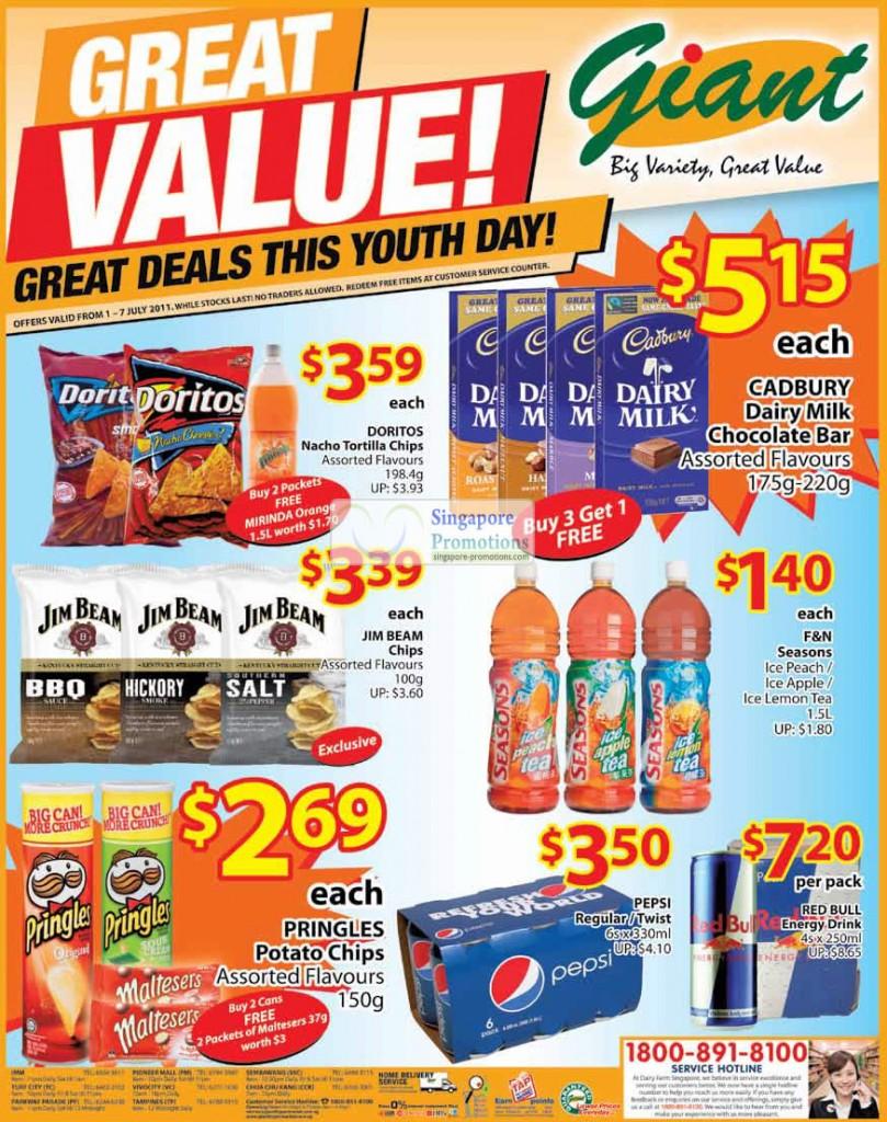 Doritos, Cadbury Dairy Milk Buy 3 Get 1 Free, Jim Beam Chips, Pringles, Pepsi, Red Bull