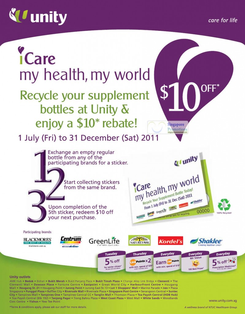 iCare Recycle Supplement Bottles, Enjoy 10 Dollar Rebate For Every 5 Bottles
