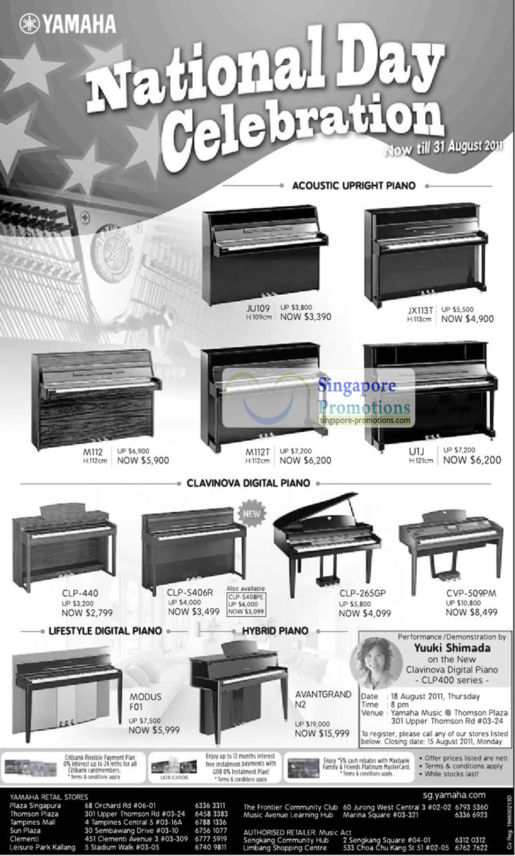 13 Aug Yuuki Shimada Performance Demonstration, Clavinova Digital Piano CLP400 Series