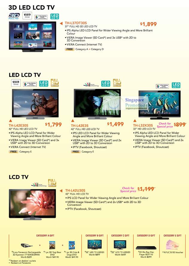 3D LED LCD TV Viera TH-L37DT30S,TH-L42E30S, TH-L42E3S, TH-L32X305, TH-L42U30S