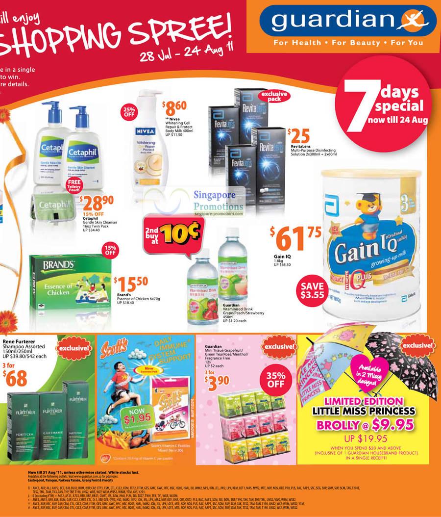 7 Day Specials, Cetaphil Gentle Skin Cleanser, RevitaLens Disinfecting Solution, Gain IQ Milk, Rene Furterer Shampoo