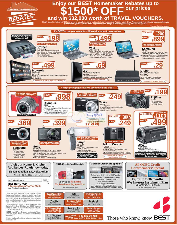 9 Sep Brother MFC-J265W, Motorola Xoom Wifi, Sony Vaio VPCSB26FG Notebook, Samsung RC420, D-Link DIR600 Router, Olympus E-PL3 Digital Camera