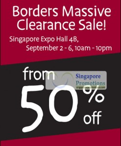 Featured image for Borders Bookstore Clearance Sale Up To 50% Off @ Singapore Expo 2 – 6 Sep 2011