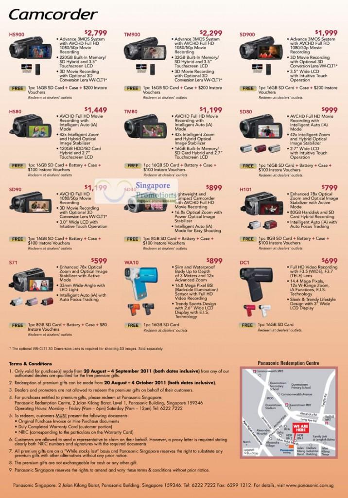 Camcorders HDC HS900, TM900, SD900, HS80, TM80, SD80, SD90, SD40, H101, S71, WA10, HX DC1
