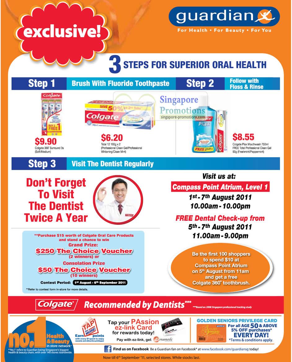 Compass Point Atrium Free Dental Check Up, Colgate 360 Surround, Professional Clean Gel, Whitening, Plax Mouthwash