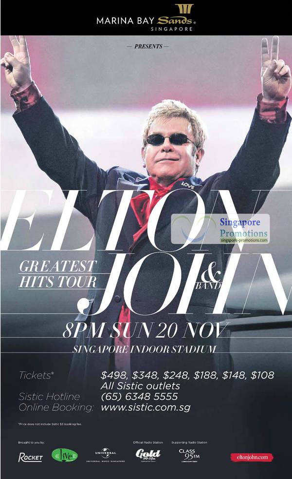 Featured image for Elton John & Band Greatest Hits Tour @ Singapore Indoor Stadium 20 Nov 2011