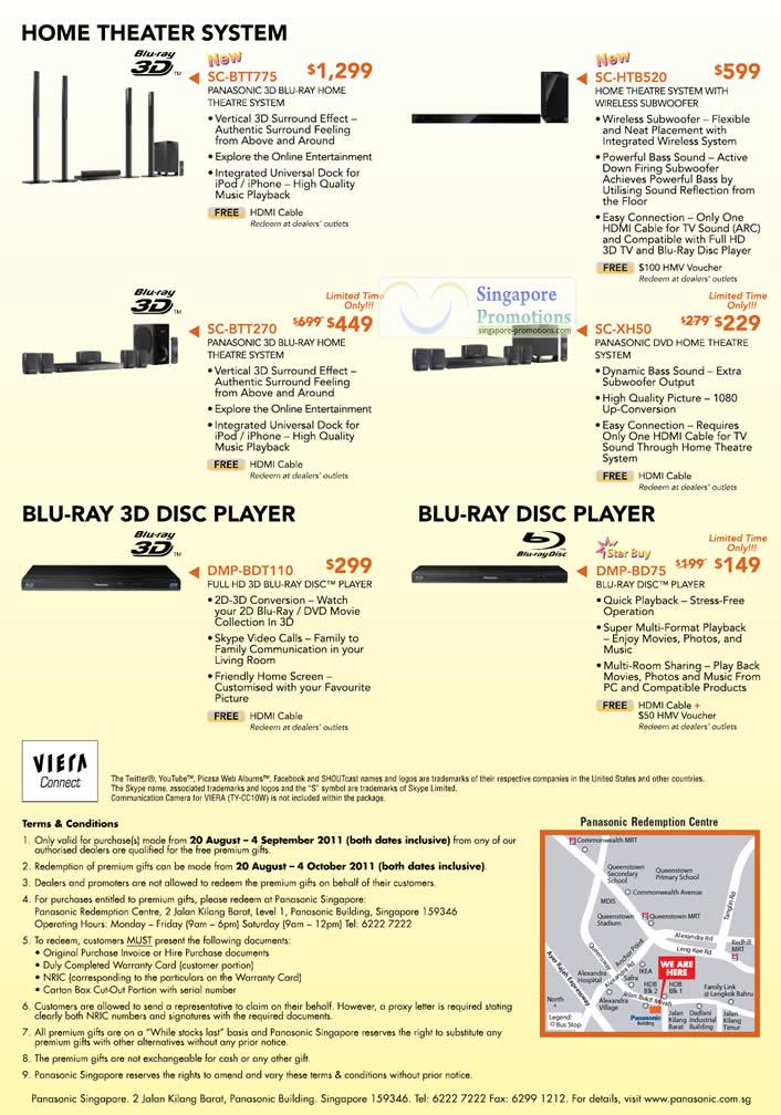 Home Theater System SC-BTT2775, SC-HTB520, SC-BTT270, SC-XH50, Blu-Ray 3D Disc Player DMP-BDT110, DMP-BD75