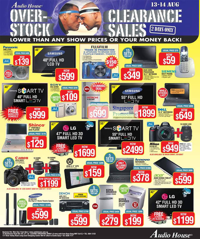 Panasonic DMC-FX48 Digital Camera, Sony DSC-S2000, Nikon D3100 DSLR, Samsung HT-BD1251 Blu Ray Home Theatre System, Denon AVR-1611 AV Receiver, Acer A500 Iconia Tablet