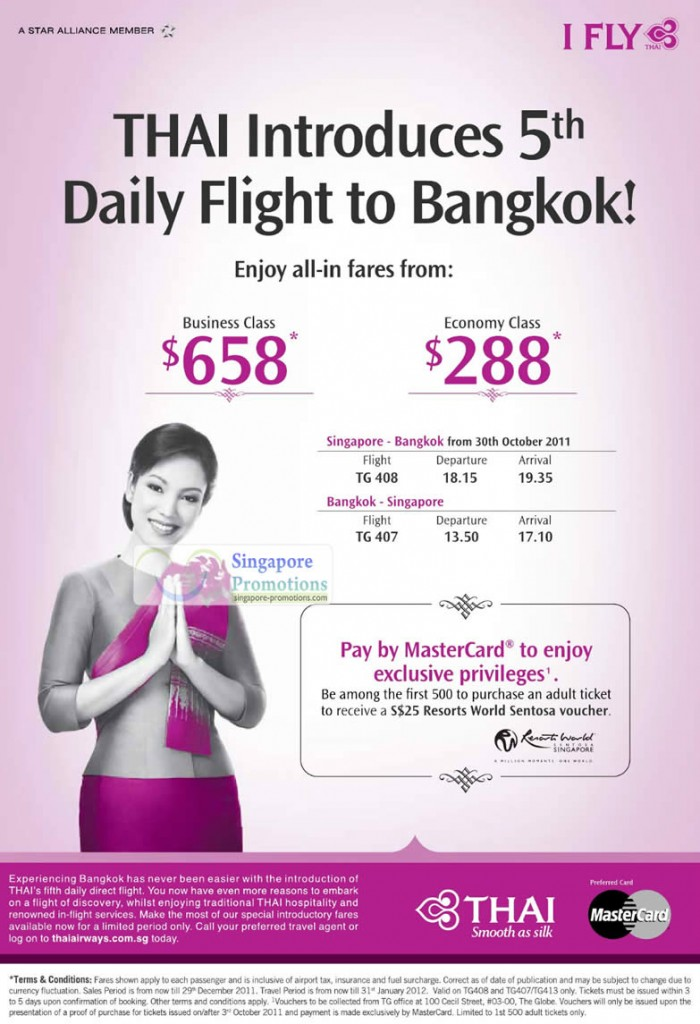 7 Oct Thai Daily Flights, Bangkok Business Class, Economy Class