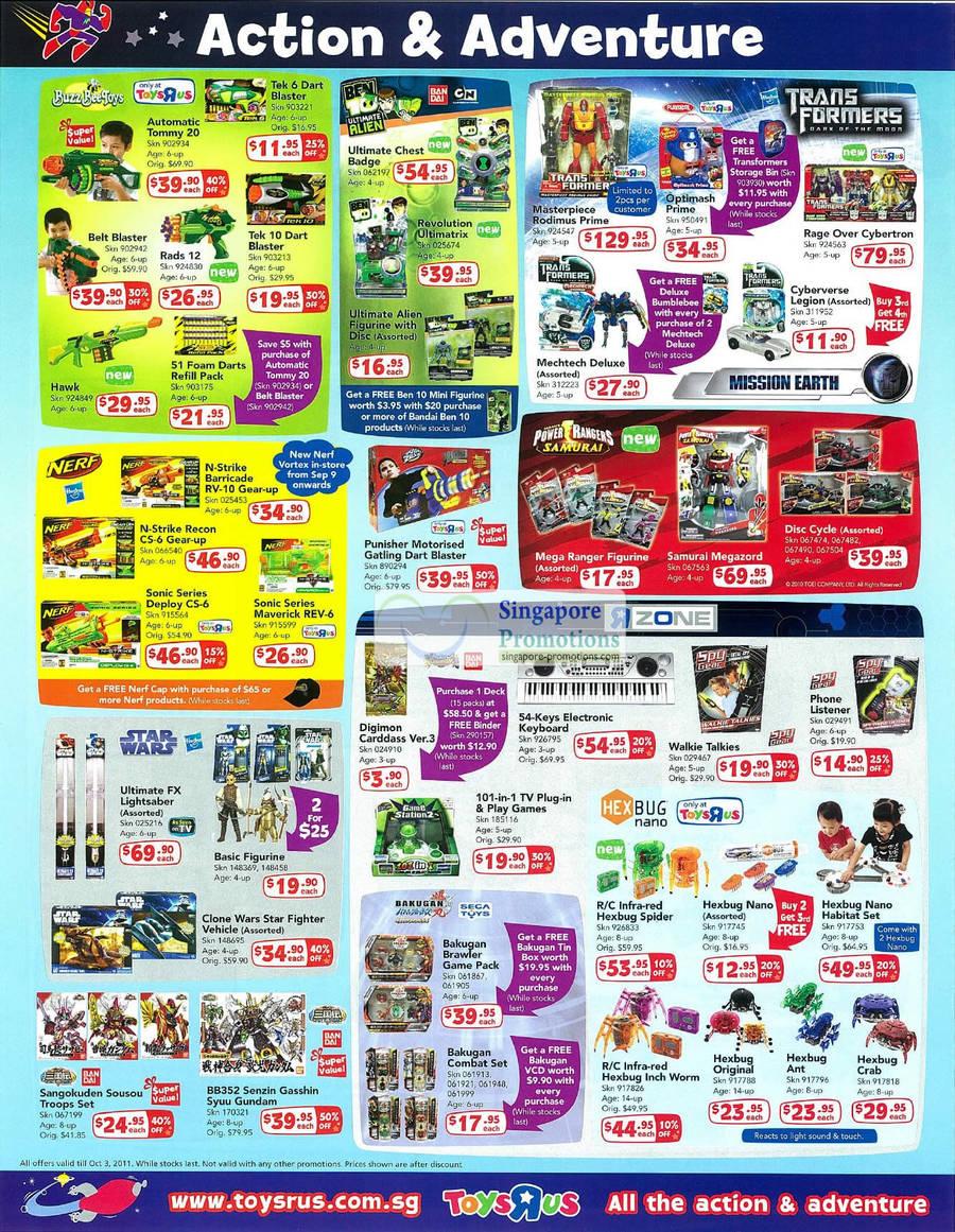 Boys Action Adventure, Bandai, Cartoon Network, Transformers Figurines, Buzz Bee Toys, Nerf, Power Rangers Samurai, Star Wars, Digimon Caddass, Walkie Talkies, Hexbug