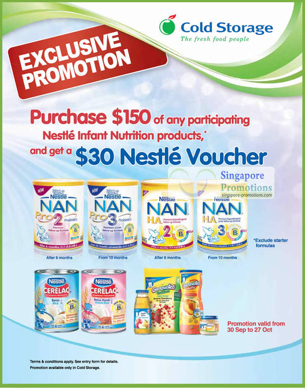 Featured image for Cold Storage $30 Voucher For Every $150 Nestle Infant Nutrition Purchase 30 Sep –  27 Oct 2011