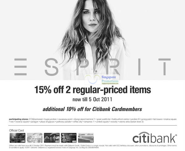 Featured image for Esprit 15% Off Two Regular-Priced Items 30 Sep – 5 Oct 2011