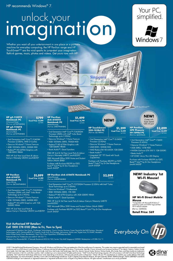 Featured image for HP Pavilion & Touchsmart Notebooks & Desktop PC Price List 30 Sep – 12 Oct 2011