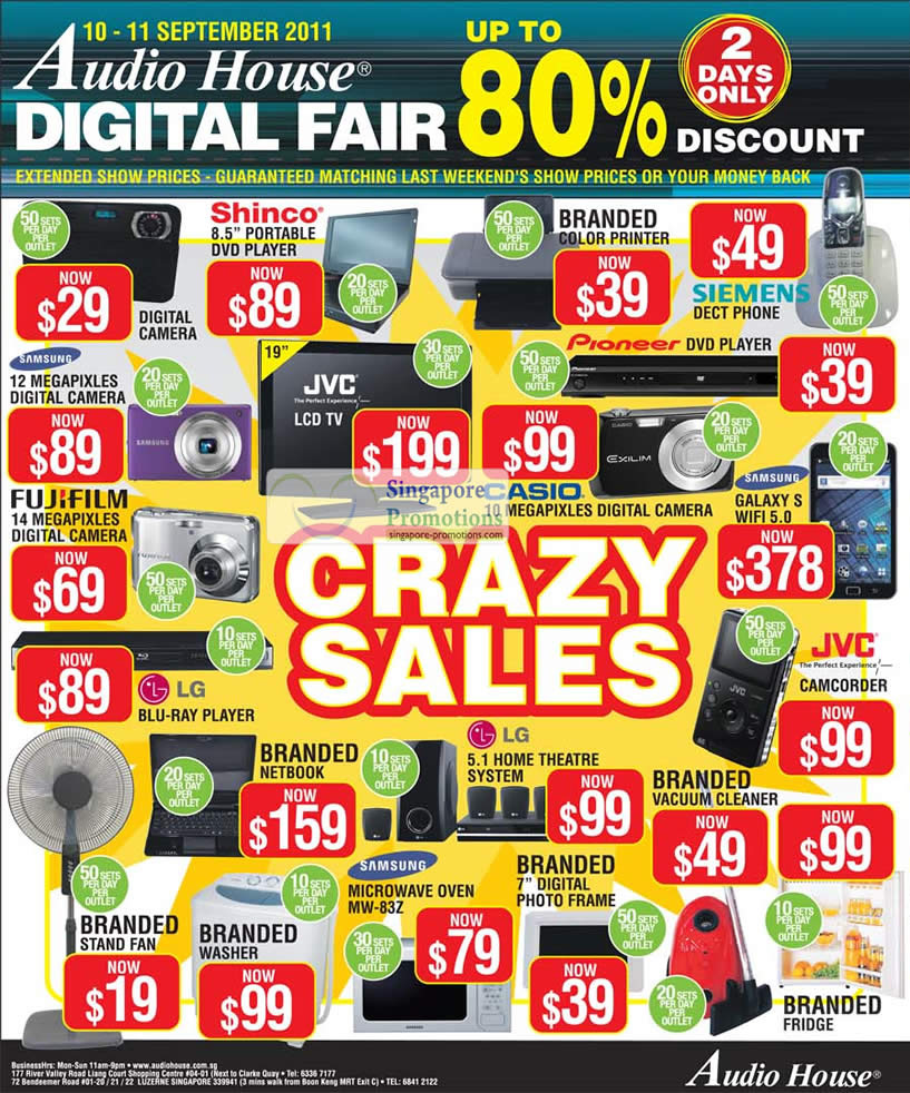 Limited Deals listed are Digital Camera, Shinco DVD Player, Siemens Dect Phone, Samsung Galaxy S Wifi 5.0, Casio, Fujifilm, Netbook, Notebook, Fridge