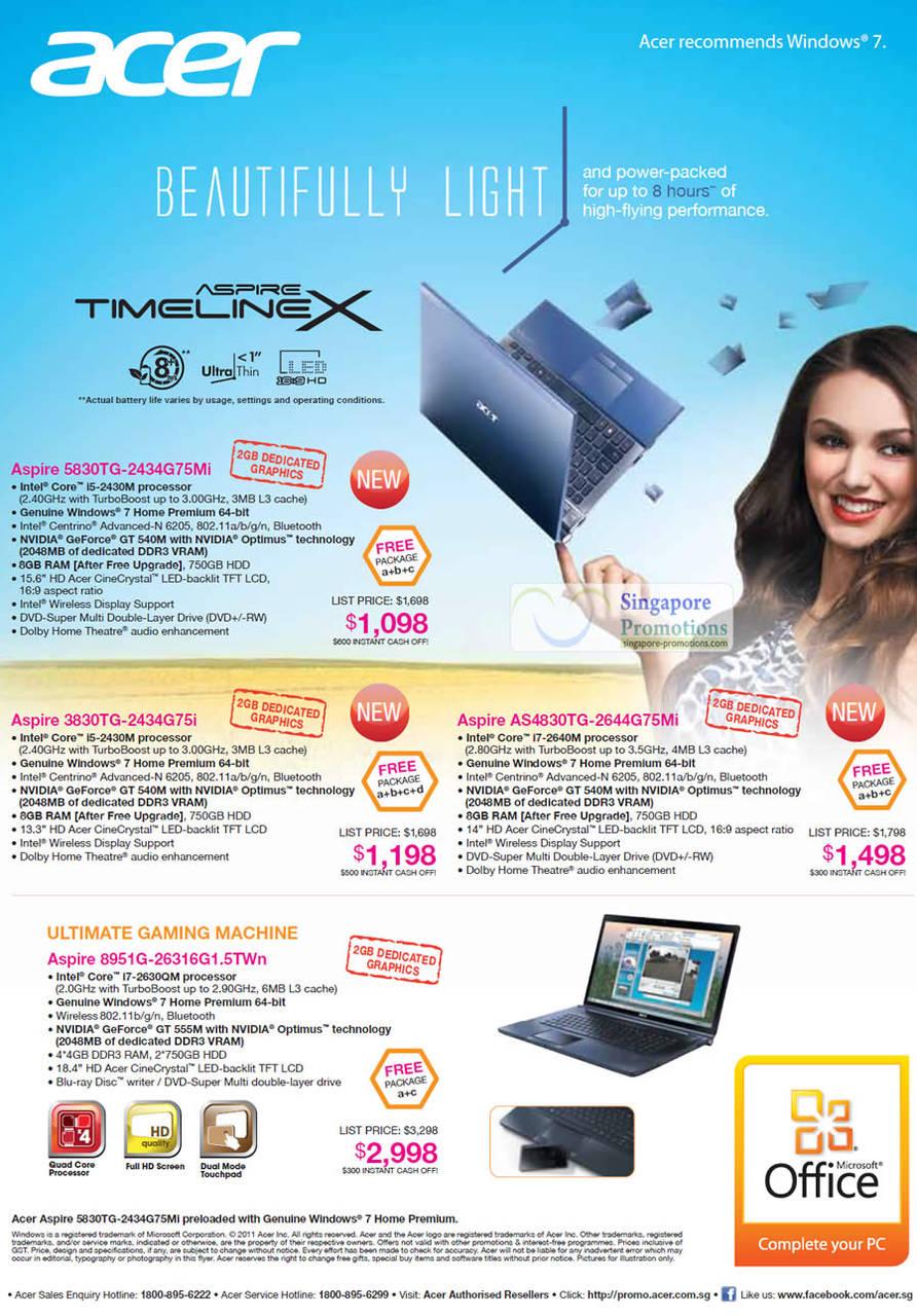 Notebooks Aspire TimelineX 5830TG-2434G75Mi, 3830TG-2434G75i, AS4830TG-2644G75Mi, 8951G-26316G1 5TWn