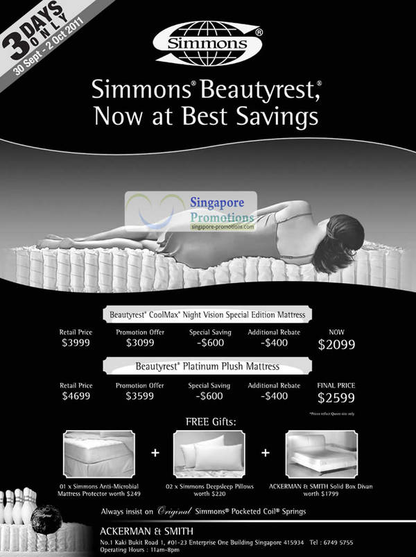 Featured image for Simmons Beautyrest Mattress Special Offers 30 Sep 2011