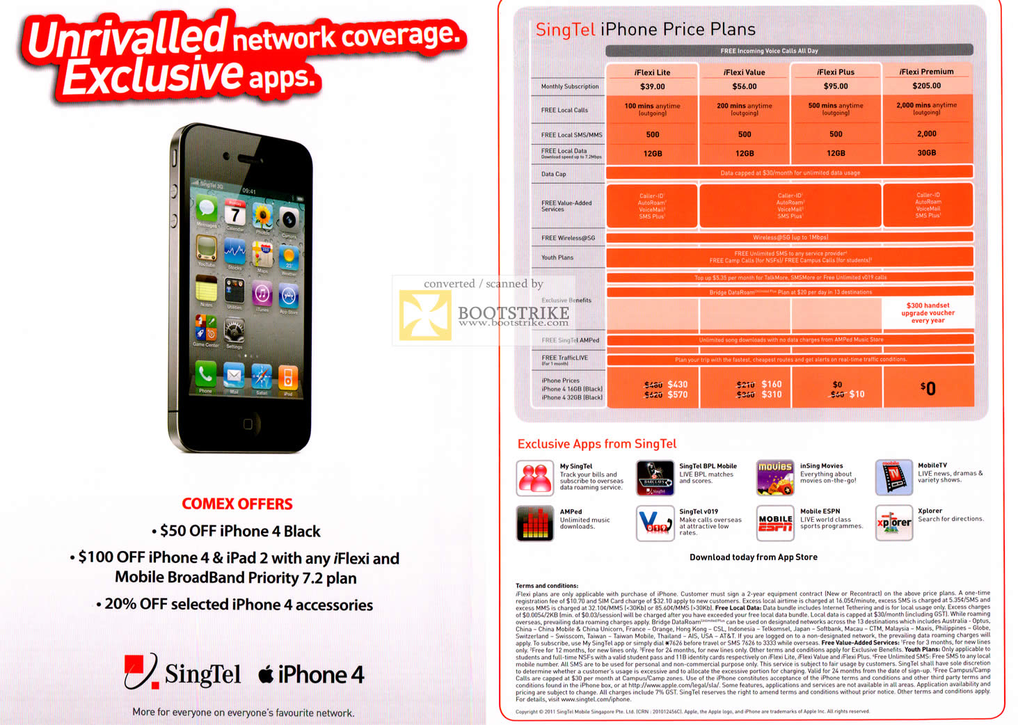 Singtel iPhone 4 Up To 100 Dollar Off iFlexi Mobile Broadband