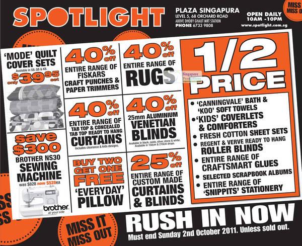 Featured image for Spotlight Up To 50% Off @ Plaza Singapura 30 Sep – 2 Oct 2011