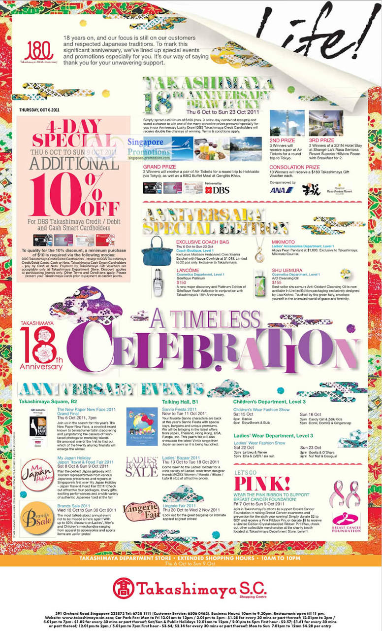 10 Percent Off For Cardholders, Prizes, Events