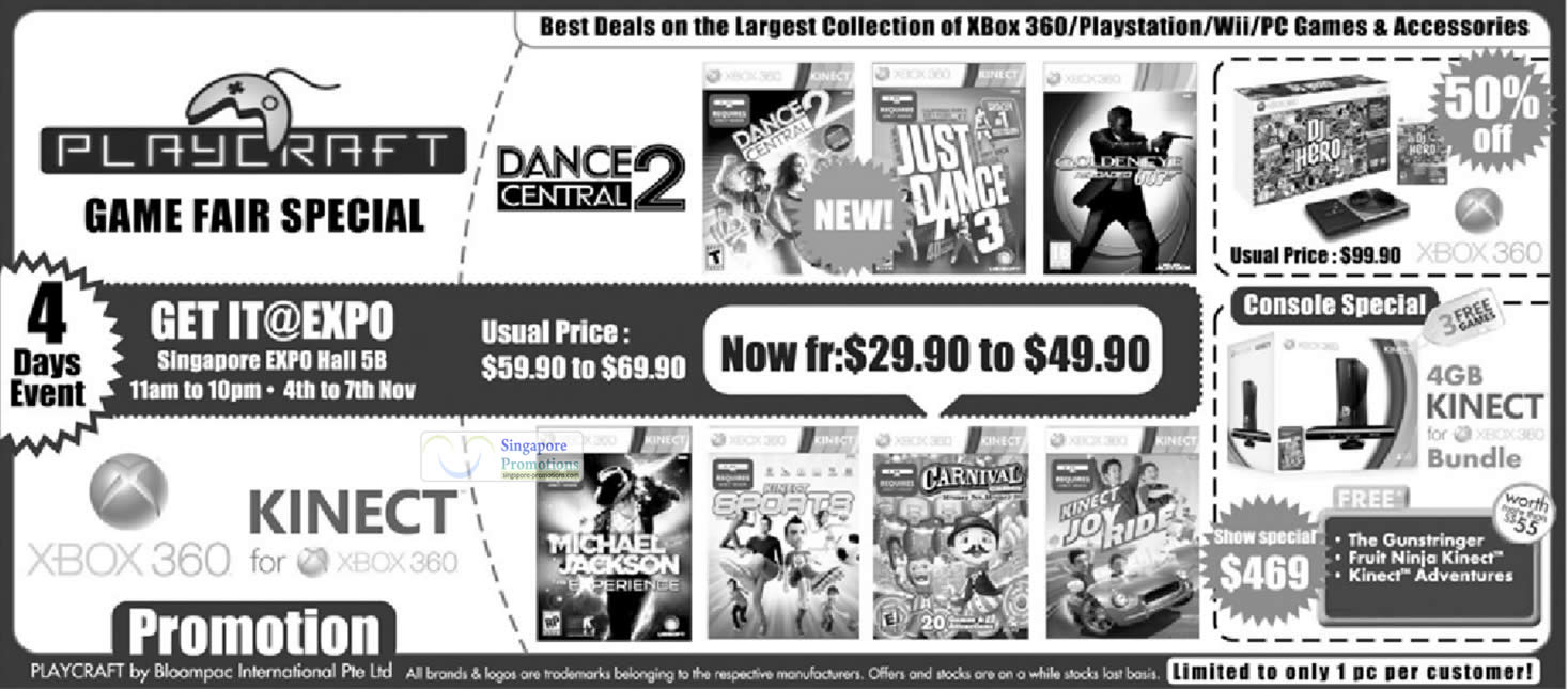2 Nov Playcraft Game Fair, Xbox 360 Kinect Bundle, Dance Central 2, Games