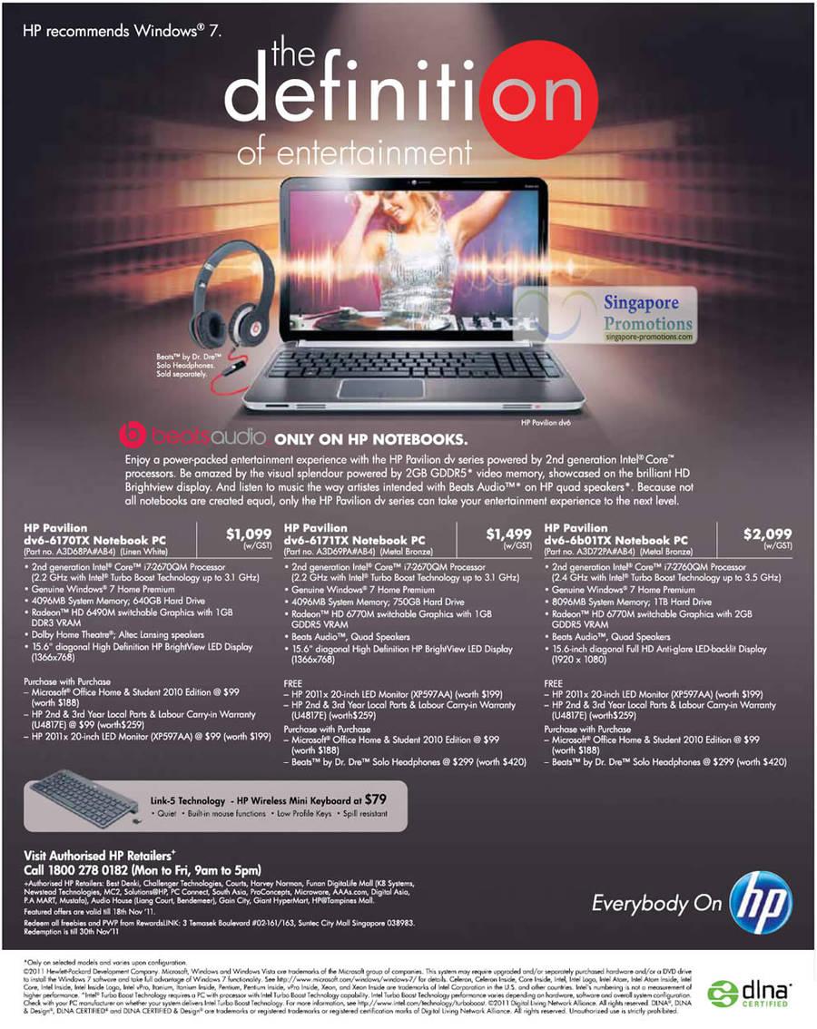 28 Oct HP Notebooks Pavilion DV6-6170TX, Pavilion DV6-6171TX, Pavilion DV6-6b01TX