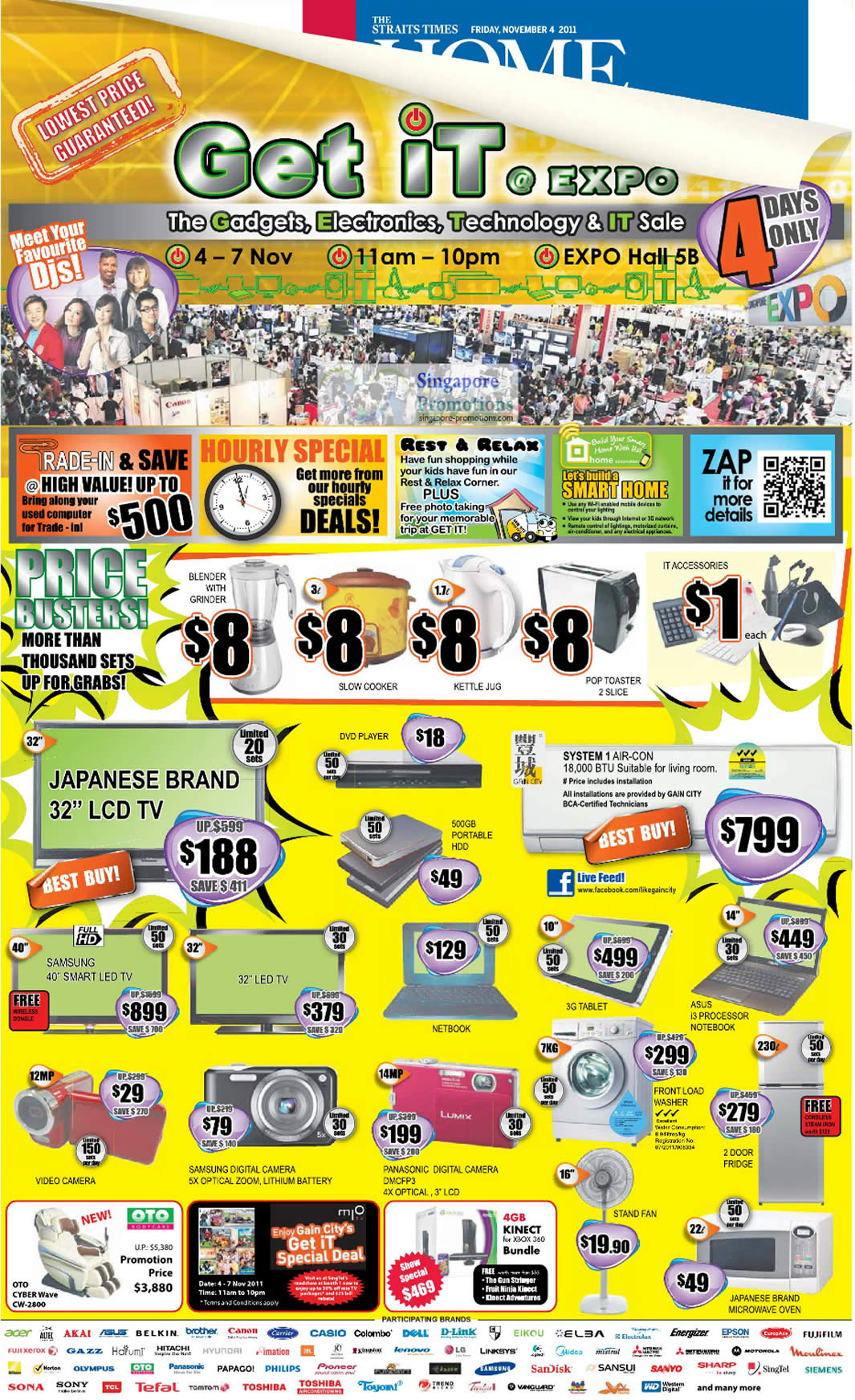 4 Nov 8 Dollar Limited Deals, Panasonic DMC-FP3 Digital Camera, TV, Notebook, Tablet, OTO Cyberwave CW-2800
