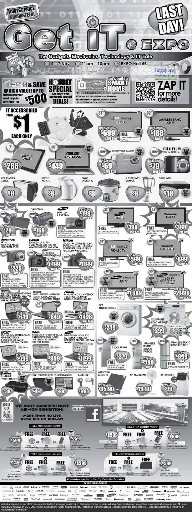7 Nov 1 Dollar Deals, Limited Deals, Lenovo G470 Notebook, Acer AS4755G, Fridge, Dryer