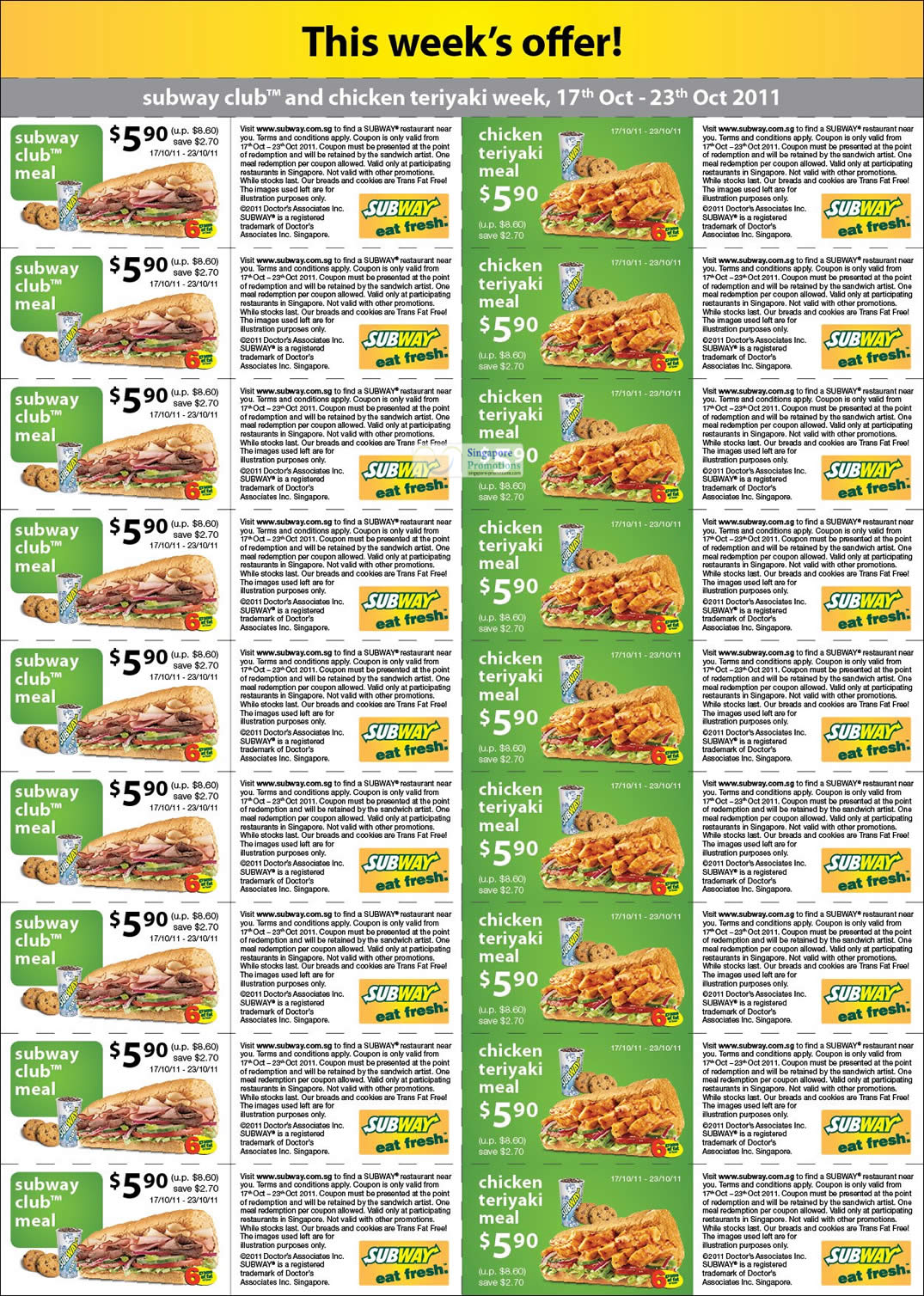 Citibank Online Sign In >> A4 Size Coupons » Subway Singapore 31% Off Subway Club ...