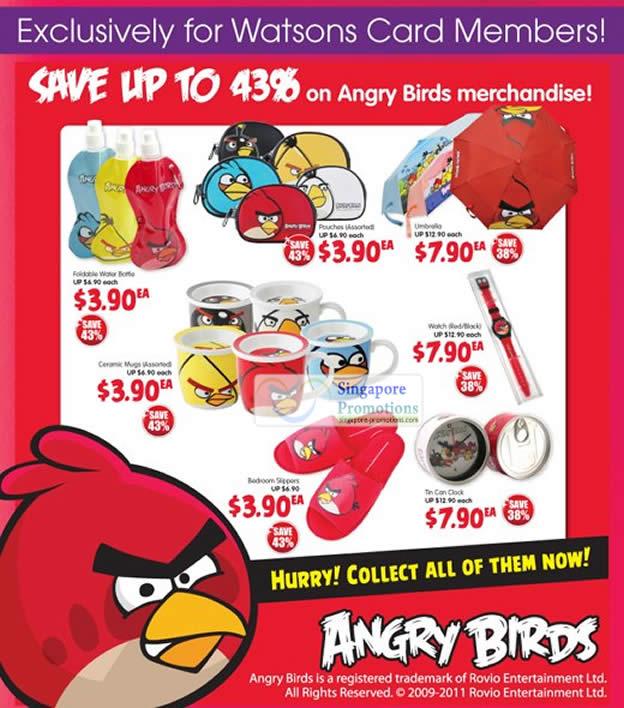 Angry Birds Merchandise, Water Bottle, Mugs, Slippers, Clock, Watch, Umbrella, Pouch