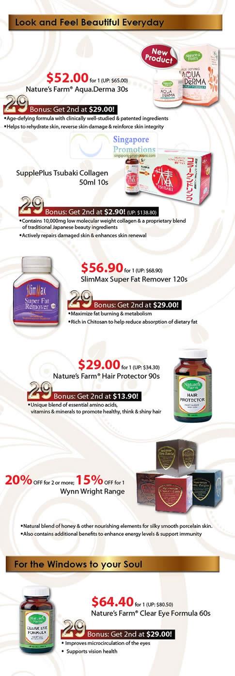 Aqua Derma, SupplePlus Tsubaki Collagen, SlimMax Super Fat Remover, Hair Protector, Wynn Wright, Clear Eye Formula