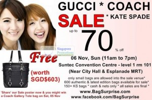 Featured image for BagSurprise Branded Handbags Sale Up To 70% Off @ Suntec 6 Nov 2011