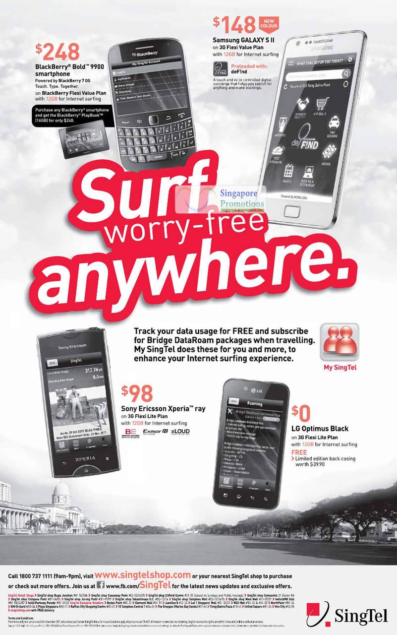 Blackberry Bold 9900, Samsung Galaxy S II, Sony Ericsson Xperia Ray, LG Optimus Black