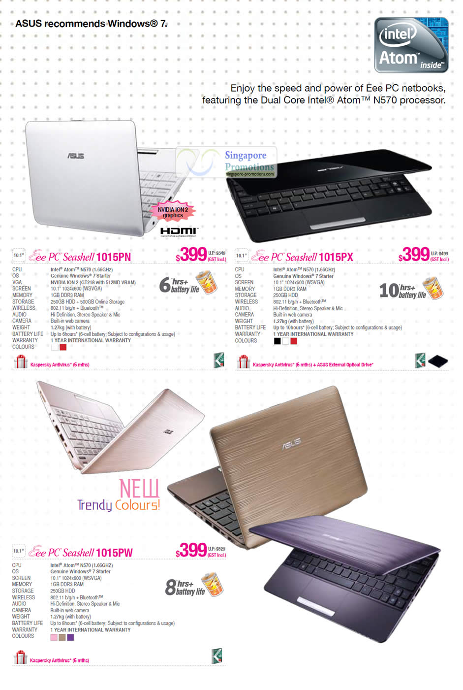 Eee PC Seashell 1015PN, Eee PC Seashell 1015PX, Eee PC Seashell 1015PW