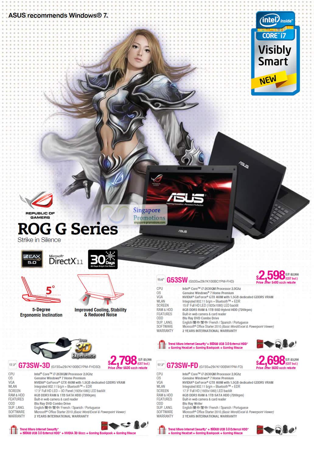 ROG G Series G53SW G53Sw29i7K100BC7PM-FHD G73SW-3D G73Sw29i7K100BC7PM-FHD3D G73SW-FD F73Sw29i7K100BW7PM-FD