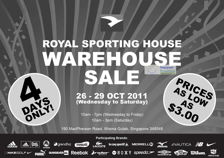 f14c720634 Royal Sporting House Warehouse Sale 26 – 29 Oct 2011