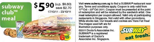Subway Club Meal Coupon