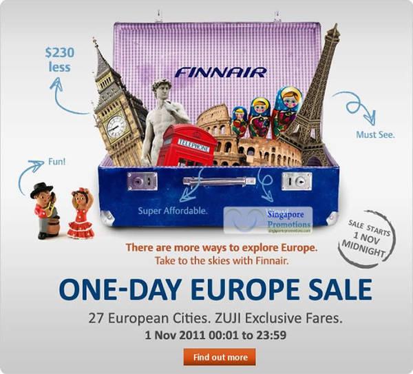 Featured image for Finnair European Cities Air Fare One Day Sale 1 Nov 2011