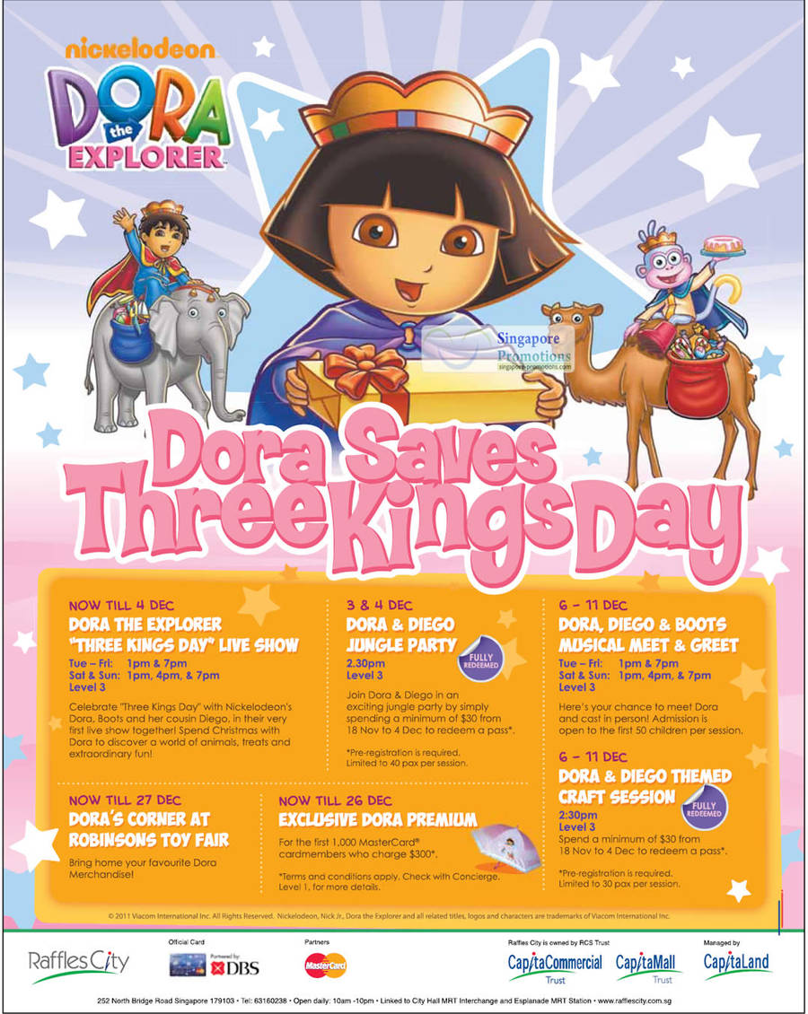 26 Nov Nickelodeon Dora the Explorer Shows, Toy Fair, Party, Meet n Green, Craft Session