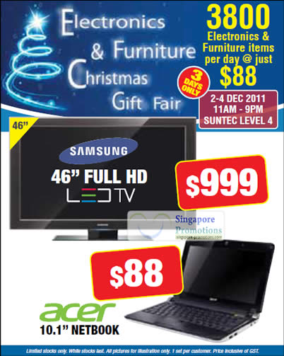 30 Nov Samsung 46 LED TV, Acer 10.1 Netbook