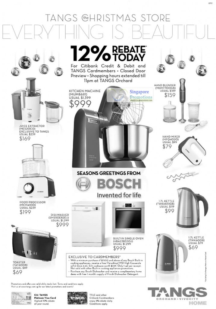 Bosch, MES20C0 Juice Extractor, MUM86R1 Kitchen Machine, Hand BLender MSM7700GB, Hand Mixer MFQ4020, Food Processor MCM4100, Dishwasher SMS50E82EU, Toaster TAT6008, Built-In Single Oven HBA238550J, 1.7L Kettle TWK6831GB, 1.7L Kettle TWK6008