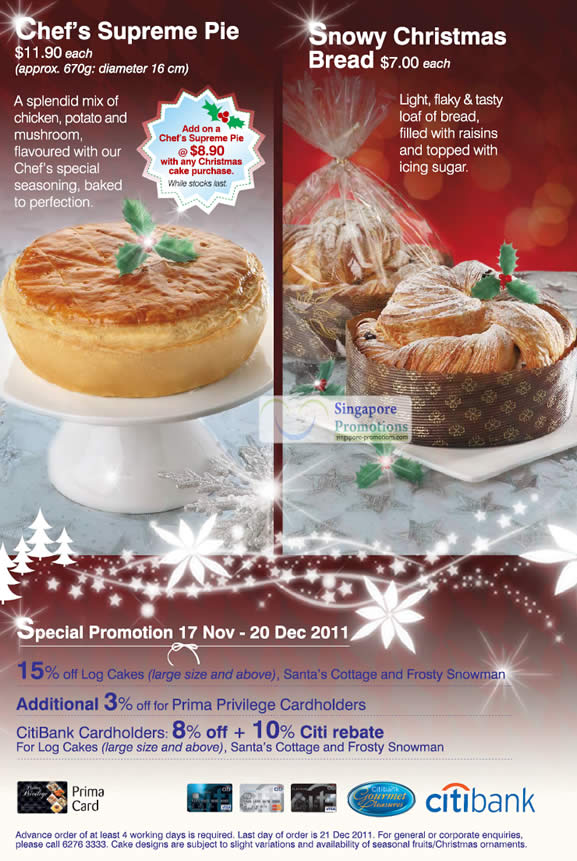 Chefs Supreme Pie, Snowy Christmas Bread, Special Promotion