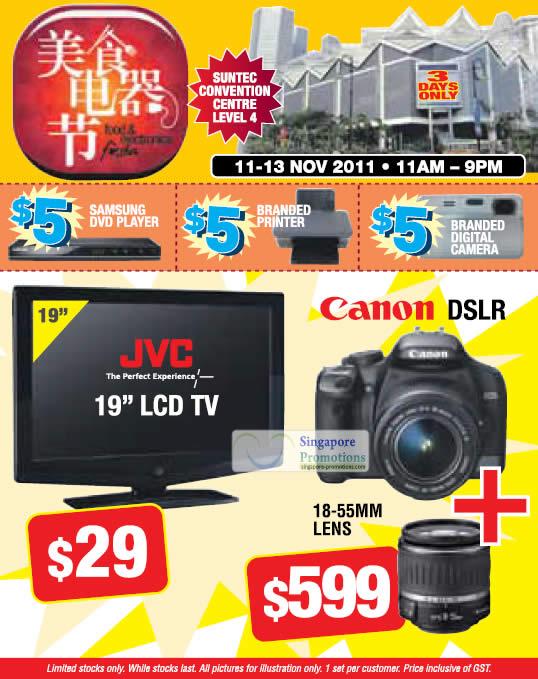 Limited Deals, JVC LCD TV, Canon DSLR Digital Camera, DVD Player, Printer, Digital Camera
