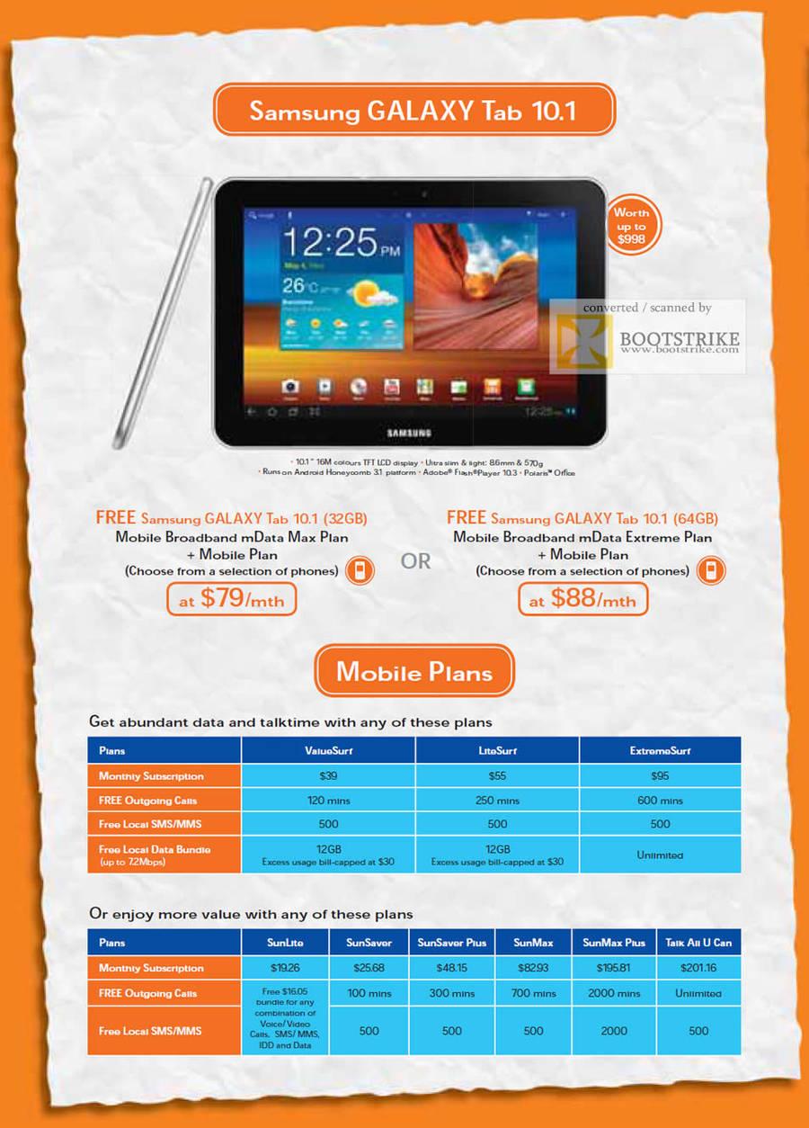 M1 mData Max Plan, Extreem Plan, Free Samsung Galaxy Tab 10.1, Mobile Plans